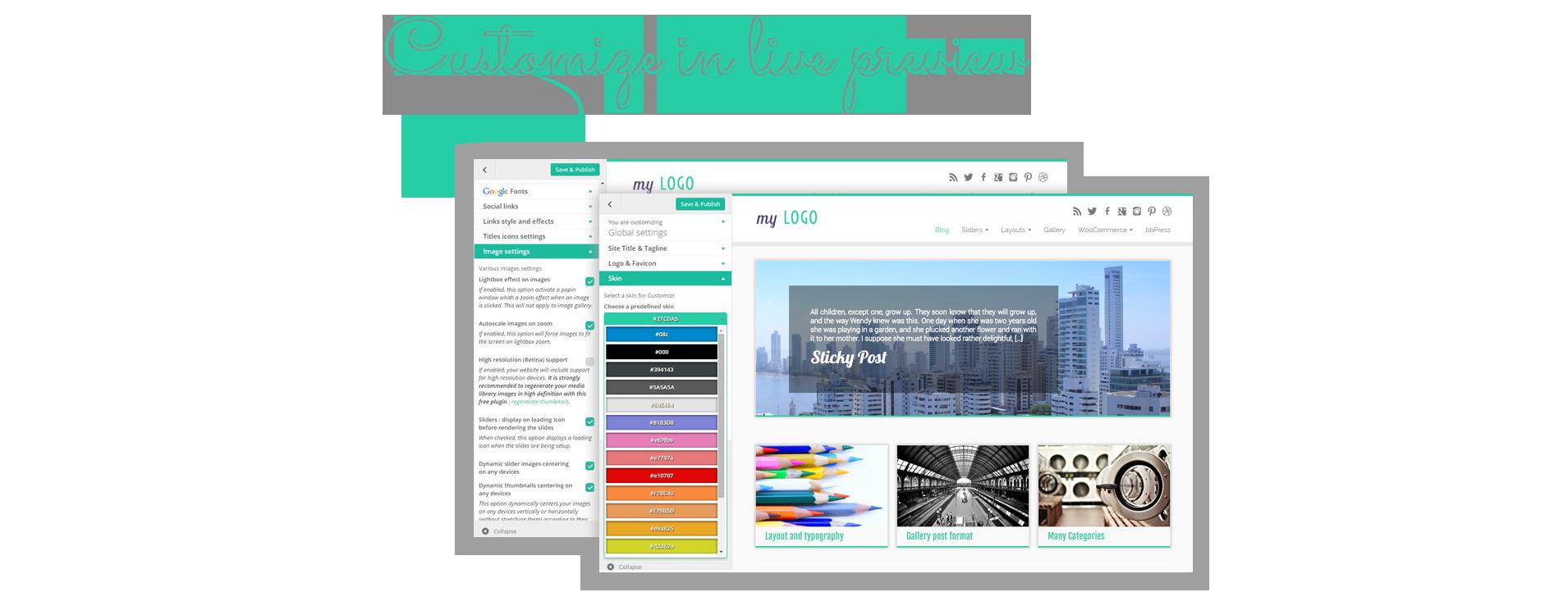 Mnóstwo opcji układu i wyglądu jest dostępnych wprost na ekranie Personalizacji WordPressa: na żywo widzisz co zmieniasz!